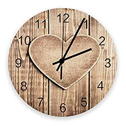12 Inch Silent Round Wooden Wall Clock Heart-Shaped Plank Wall Clock, Non Ticking Battery Operated Quartz Home Decor Wall Clocks for Living Room/Kitchen/Office