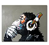 Muzagroo Art Music Monkey with Headphone Oil Paintings Hand Painted on Canvas Wall Art for Living Room M