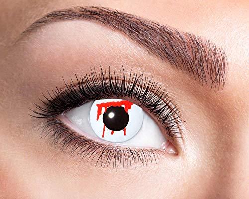 EYECATCHER Farbige Kontaktlinsen blutig, ohne Stärke - Farblinsen Kontaktlinsen Halloween - Weiche Kontaktlinsen inkl. Pflegemittel und Aufbewahrungsbox (White Slash)
