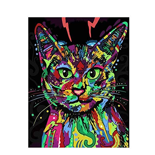 DIY olieverfschilderij van nummers Kits, kleurrijke kat hoofd foto's kunst op nummer Kit Print muur stickers voor woonkamer slaapkamer keuken