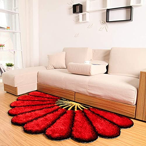 MUZIDP Creative Pastoral - Alfombra 3D multifunción con forma de abanico, suave, mullida, gruesa, antideslizante, para sala de estar, sofá, dormitorio, mesita de noche, 100 x 180 cm, color rojo