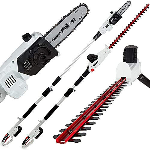 NETTA 2-in-1 20V Cordless Pole Telescopic Chainsaw and Hedge Trimmer, 200mm Cut Length Chain Saw, Hedge Shears 510 mm Telescopic