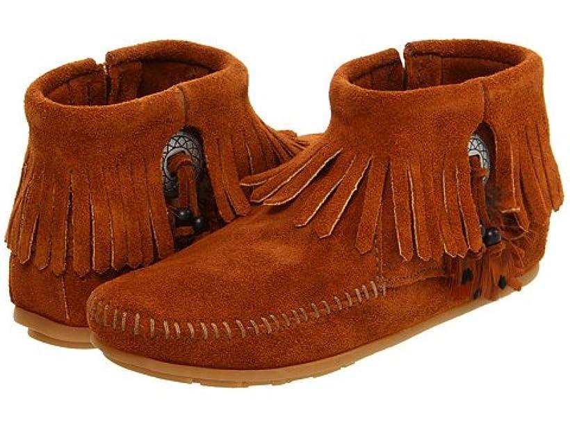 追加七時半眩惑する(ミネトンカ) MINNETONKA レディースブーツ?靴 Concho/Feather Side Zip Boot Brown Suede 5.5 22.5cm M [並行輸入品]