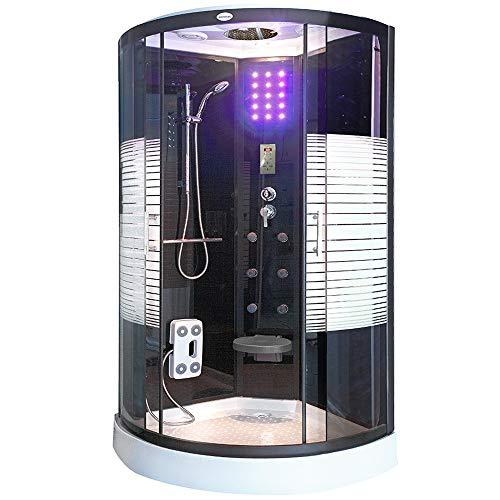 Home Deluxe - Dampfdusche - Black Pearl mit Regendusche - Duschtempel Fertigdusche, Dusche, Duschkabine Komplett (100 x 100 cm)