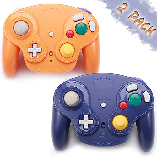 GALGO Wireless Gamecube Controllers, Classic Gamecube Wavebird Wireless wii Controller Remote Gamepad Joystick for Nintendo Gamecube Console, Compatible with Wii (Purple and Orange)