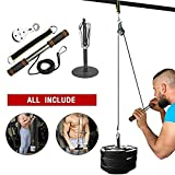 FBSPORT Forearm Wrist Roller Trainer, Fitness LAT Lift Pulley System, Arm Strength Exerciser, Body Training Fitness Equipment for LAT Pull Down, Biceps Curl, Triceps Extensions Training, Home Workouts