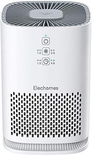 Elechomes Luftreiniger mit HEPA-Kombifilter & Aktivkohlefilter, 3-Stufen-Filterung für 99,97% Filterleistung, Timer, Aromatherapie Air Purifier Optimal für Allergiker, Raucher