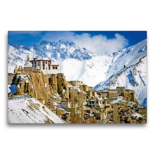 Premium Textil-Leinwand 75 cm x 50 cm transversal, el de las cumbres del Himalaya, tibetano-budista, monasterio budista Lamayuru en invierno, Ladakh, Cachemira, India (CALVENDO Orte);CALVENDO Orte