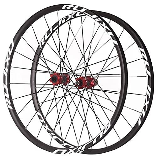 MZPWJD Ruedas Bicicleta Montaña Ruedas Juego 26/27.5/29 Pulgadas Aleación Aluminio Llanta 24H MTB Rueda Delantera Y Trasera 1920g Eje Pasante Freno Disco Carbono Buje 7-11 Velocidad