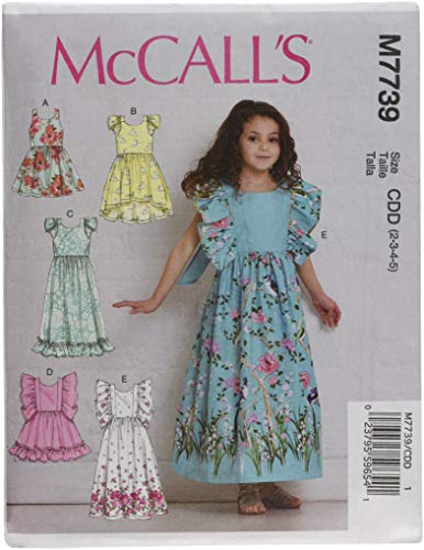 McCall's 1 x Kinderen/Meisjes Jurken, Papier Wit, CDD (2-3-4-5)