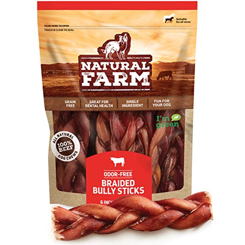 """Natural Farm Made and Packaged Braided Bully Sticks: Odor-Free, 6"""" Long (10-Pack, 100% Beef - Grain-Free, Low Fat & Fully Digestible Dental Treats - Safest Dog Curly Chew to Keep Your Dog Busy"""