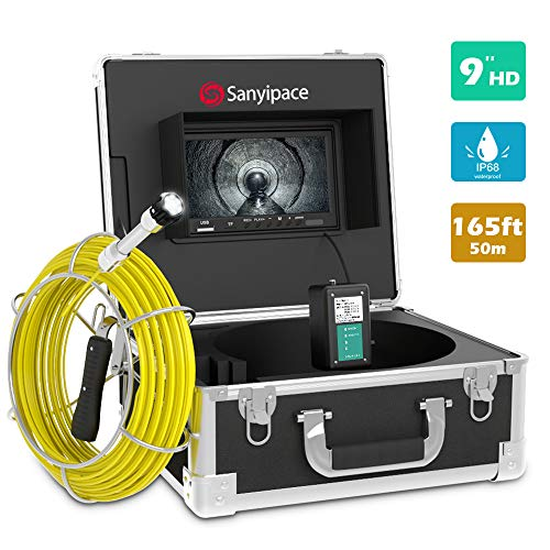 Drain Camera 165ft,Sewer Camera Pipeline Drain Industrial Endoscope IP68 Waterproof Snake Video System with 9 Inch LCD Monitor 1000TVL Sony CCD DVR Live Recorder HD Color Duct Camera