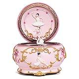 Boîtes à musique Round Rose Music Box, Musique ballerine romantique Box for les filles, Décoration, Cadeaux créatifs for Anniversaire / Fête / Amis Boîte à Bijoux Musicale ( Color : 'Swan Lake' )