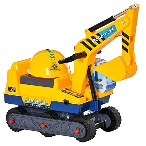 HOMCOM Kinderbagger Sitzbagger für Kleinkinder Rutscher Kinder Rutschauto Laufrad mit Schutzhelm drehbar für Kinder 2-3 Jahre PP-Kunststoff ABS Gelb+Schwarz 77 x 26 x 55 cm