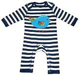 HARIZ Baby Strampler Streifen Vogel Niedlich Tiere Kindergarten Plus Geschenkkarten Navy Blau/Washed Weiß 3-6 Monate