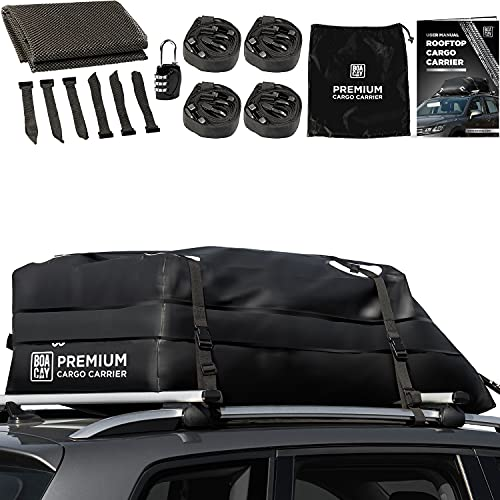 BOACAY Premium Rooftop Cargo Carrier, 15 Cubic Ft Extra-Large Top Bag for Vehicles with Rack or Without, Waterproof Military-Grade PVC Canvas, Aerodynamic Design, Straps, Hooks & Non-slip Mat Included