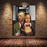 CHBOEN Cuadros decorativos Divertido arte van Gogh y Mona Lisa lienzo Pósteres e imprimir pinturas al óleo famosas abstractas en lienzo Imágenes de la pared for hogar Cuadros