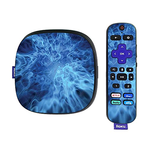 MightySkins Skin Compatible with Roku Ultra HDR 4K Streaming Media Player (2020) - Blue Mystic Flames   Protective, Durable, and Unique Vinyl Decal wrap Cover   Easy to Apply   Made in The USA