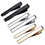Classic Style Men's Tie Clips, Viaky Neck Ties Necktie Bar Pinch Clip with Gold Silver Black 3 Tone, Best Gifts for Your Father, Lover and Friends in Xmas, Anniversary, Wedding, Party, Meeting