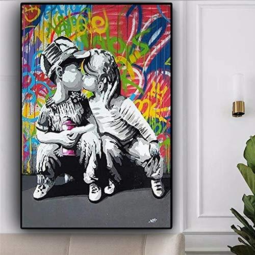 GJQFJBS Graffiti Moderno Arte Callejero Abstracto niño Beso niña Lienzo Pintura y Arte de Pared Pop Imagen para Sala de Estar (sin Marco) A2 60x80CM