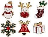 XIAOGING 6PCS navidad de la aleación de la broche de muñeco de nieve copo de nieve de la solapa del esmalte del Rhinestone pines insignia de Vestir Partido joyería uso diario bolsa de regalos sombrero
