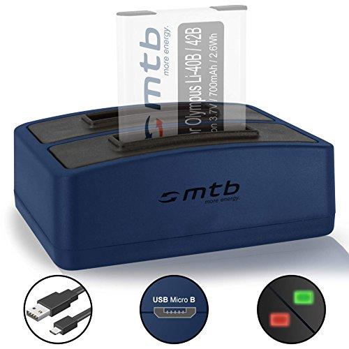Cargador Doble (USB) para Olympus Li-40B/42B, FE-, mju, µ,