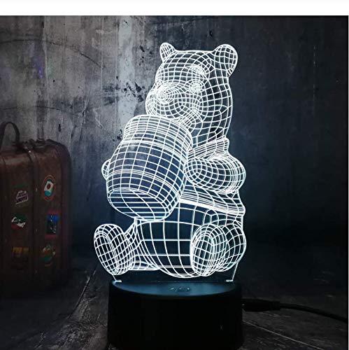 Veilleuse 3D Colorée Cute Honey Winnie Ours Led Ampoule Ation Lumières Kid Dessin Animé Nouveauté Atmosphère Toucher Humeur Table Lampe Lava Cadeau D'Anniversaire Décoration De noël