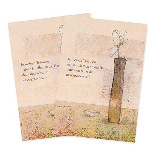 2er Set Trauerkarten mit Pergametpapier Motiv In meinen Träumen