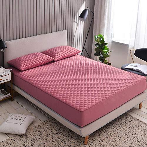 ChileYile Protector de colchón Cepillado de Color Liso Engrosamiento Antideslizante más Dormitorio de algodón-Rosa oscuroEl 150x200 * 20cm
