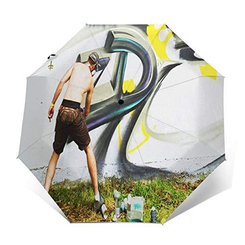 Regenschirm Taschenschirm Kompakter Falt-Regenschirm, Winddichter, Auf-Zu-Automatik, Verstärktes Dach, Ergonomischer Griff, Schirm-Tasche, Straßenkünstler zeichnet Graffiti Zaun