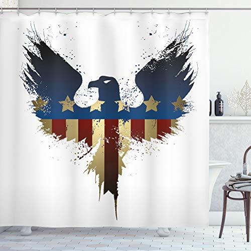 ABAKUHAUS Adler Duschvorhang, USA Flagge Vogel Silhouette, mit 12 Ringe Set Wasserdicht Stielvoll Modern Farbfest & Schimmel Resistent, 175x180 cm, Sepia Blau Rot