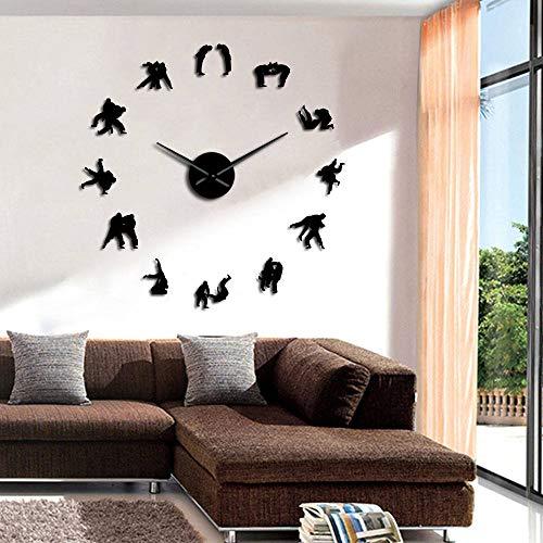 JBNJK Horloge murale Entraînement Martial Mur Art Décor Judo Joueur Silhouette DIY Grande Horloge Murale Wrestler Miroir Effet Miroir Montre Murale (Noir)-37inch