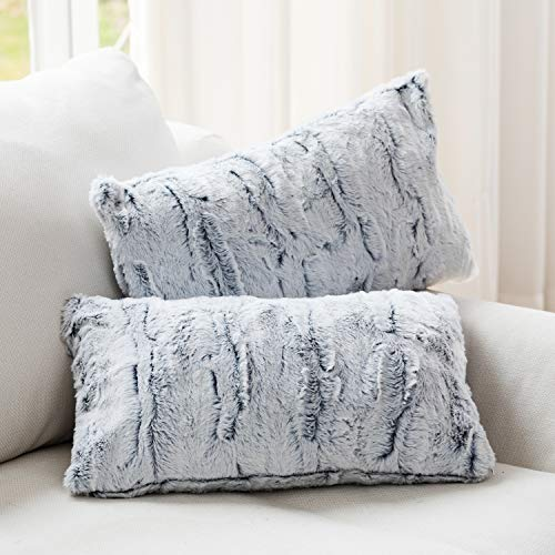 Cheer Collection Embossed Faux Fur Throw Pillows - Set of 2 Lumbar Couch Pillows, 12' x 20' - White/Blue
