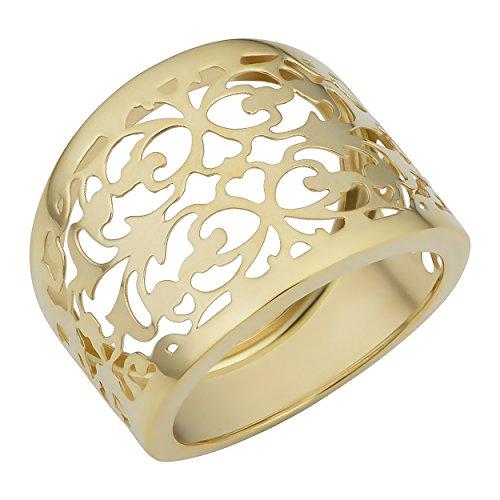 Kooljewelry 14k Yellow Gold Filgree Cigar Band Ring (size 8)