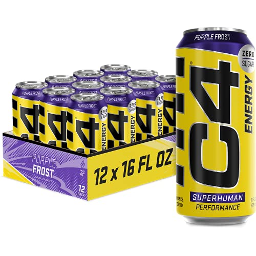 C4 Energy Carbonated Zero Sugar Energy Drink, Pre Workout Drink + Beta Alanine, Purple Frost, 16 Fl Oz (Pack of 12)