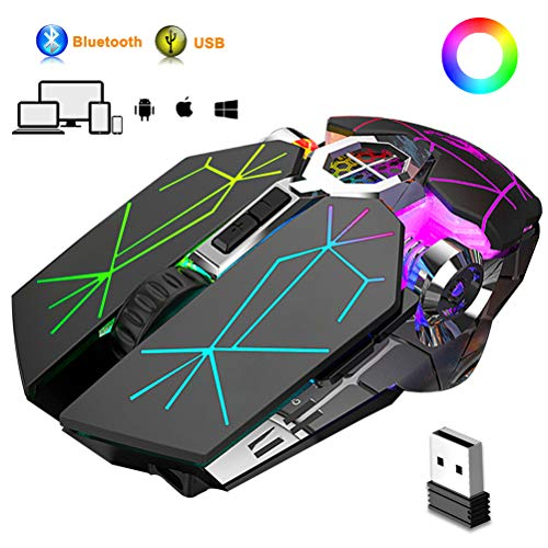 Bluetooth Gaming Mouse, Rechargeable Wireless Mice, USB...
