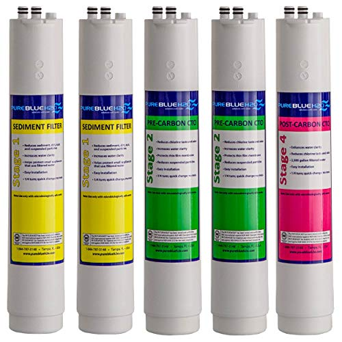 Pure Blue H2O 5 Pack Annual Replacement Filters for Four Stage Reverse Osmosis Water Filtration System