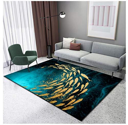 YDANH Golden Swimming Fish Tappeti Stampati in 3D per Soggiorno Camera da Letto Tappeto Corridoio Zerbino Bagno Cucina Assorbimento d'Acqua Tappetino Antiscivolo