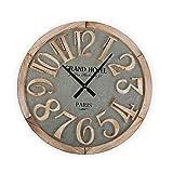 Versa Macquarie Reloj de Pared Silencioso Decorativo para la Cocina, el Salón, el Comedor o la Habitación, Medidas (Al x L x An) 60 x 5 x 60 cm, Madera y Metal, Color Gris y Marrón