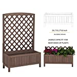 """Raised Garden Bed Outdoor Planter Box with Trellis for Flower Standing Vertical Lattice Panels for Vine 31"""" L x 12"""" W x 47"""" H 12 OVERALL DIMENSIONS: 31.1""""(L) x 12.2""""(W) x47.2""""(H).garden raised bed perfect for all kinds of plants, anywhere - gardens,yard, terraces, balconies, corridors,patios, turn your space into a green one. Garden planter with trellis creates a good stable environment for your creeping and vine plants.Any kind of Light gardening tools and beautiful decorations can be hung on the trellis to beautify your garden. Reinforced thick frame supported flower box can strongly hold for the heavy plants,soil, water. Large space to grow anything from flowers to vegetables to herbs,it can serve a decorative work,also fully plays it practical role."""