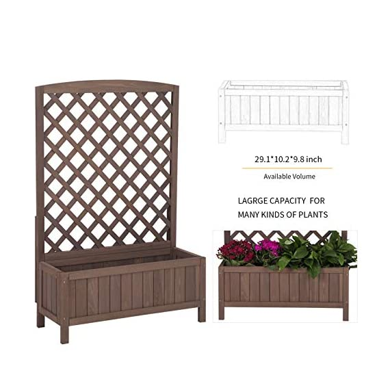 """Raised Garden Bed Outdoor Planter Box with Trellis for Flower Standing Vertical Lattice Panels for Vine 31"""" L x 12"""" W x 47"""" H 6 OVERALL DIMENSIONS: 31.1""""(L) x 12.2""""(W) x47.2""""(H).garden raised bed perfect for all kinds of plants, anywhere - gardens,yard, terraces, balconies, corridors,patios, turn your space into a green one. Garden planter with trellis creates a good stable environment for your creeping and vine plants.Any kind of Light gardening tools and beautiful decorations can be hung on the trellis to beautify your garden. Reinforced thick frame supported flower box can strongly hold for the heavy plants,soil, water. Large space to grow anything from flowers to vegetables to herbs,it can serve a decorative work,also fully plays it practical role."""