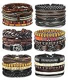 FIBO STEEL 28-30 Pcs Braided Leather Bracelet for Men Women Ethnic Tribal Cuff Wrap Wrist Bracelet Linen Hemp Cool Viking Male Jewelry