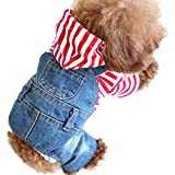 SILD Pet Denim Jumpsuit Dog Jeans Hoodies Cool Blue Coat Medium Small Dogs Classic Jacket Puppy Blue Vintage Washed Vests (XXL)