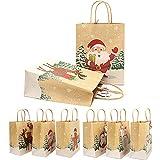 Sacchetti Regalo di Natale Natalizi, Sacchetti Regalo Natalizi Assortiti con Manici e Cartellini per Decorazioni Natalizie Sacchetti Regalo Natalizio 12PCS 18*9*31.2cm (incluso 8,5 cm portatile)