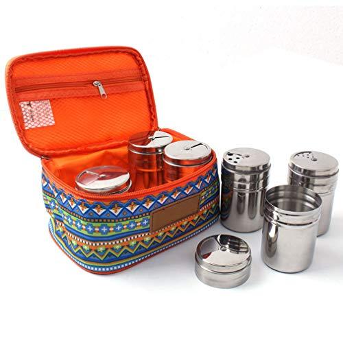 KBstore 6pcs in acciaio INOX contenitore per le spezie condimento portaspezie con coperchio girevole–Outdoor portatile campeggio viaggio, con borsa per trasporto sacchetto # 1