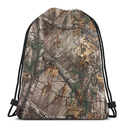 Unisex Drawstring Backpack Realtree Camo Gympack String Bag Casual Daypack