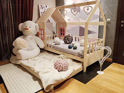 Hyggelia Kinderbett mit Schranken und zweites Bett, Ricco Holzbett für Kinder, für Jugendliche, Schlafzimmermöbelhütte, Landhausbett 2in1 (120 x 200cm, Natürliches Holz)