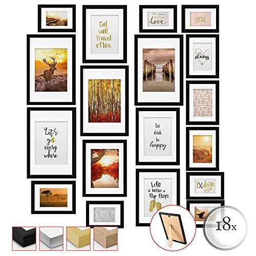 bomoe Set di 18 Cornici per foto Passion - Cornici foto collage - collage portafoto - Nero - Cornici foto multiple da Parete - cornici in legno 6x 10,5x15cm / 4x 13x18cm / 4x 18x24cm / 4x 20x30cm