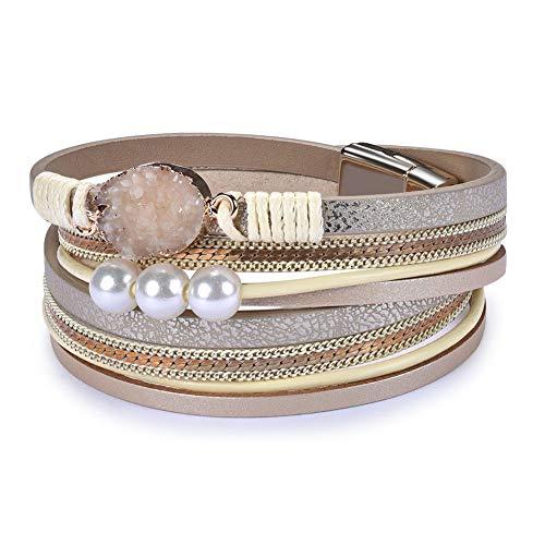 Cakadier Womens Leather Wrap Bracelet, Baroque Pearl Cuff Bracelets Multilayer Bangle Handmade Wristbands Jewelry Bohemian Gift for Women, Teen Girls, Mother (Beige)