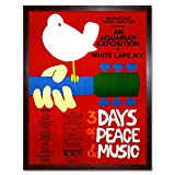 Music Festival Concert Woodstock Ny Peace Dove Love Legend Art Print Framed Poster Wall Decor 12X16 Inch Musik Konzert Holz Frieden Liebe Legende Wand Deko